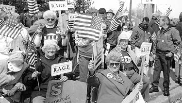 Retirees Association of General Electric - RAGE - mobilized outside the Erie, Pa. GE plant gates on April 19