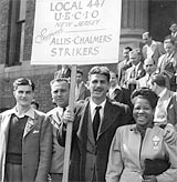 A scene from the 1946 UE strike against Allis Chalmers