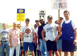 On the picket line in 1998 ...