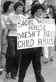Picketing the Department of Human Services office in Cedar Rapids in the mid-1980s.